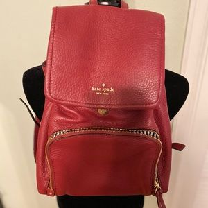 KATE SPADE ♠️ red leather backpack